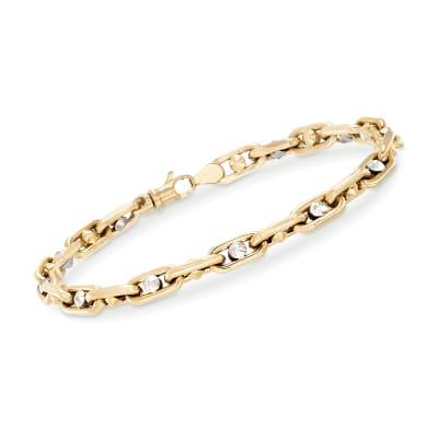 Men's 14kt Two-Tone Gold Link Bracelet