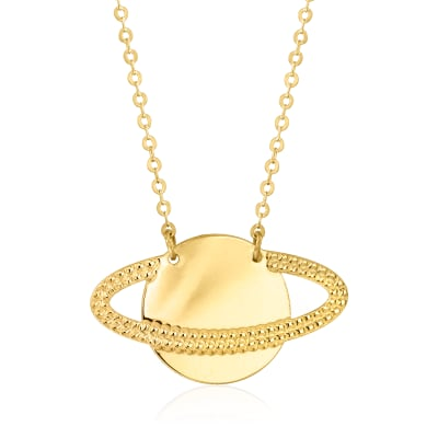 Italian 14kt Yellow Gold Saturn Necklace