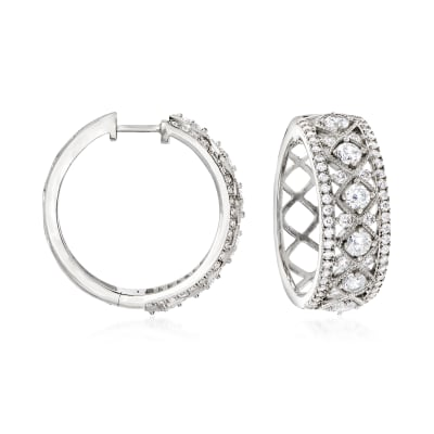 2.30 ct. t.w. CZ Hoop Earrings in Sterling Silver