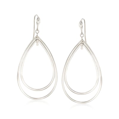 "Zina Sterling Silver ""Contemporary"" Large Double Pear-Shaped Drop Earrings"