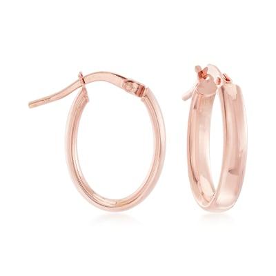 Italian 3mm 14kt Rose Gold Oval Hoop Earrings