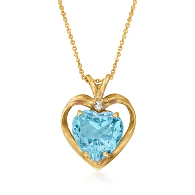 C. 1980 Vintage 8.75 Carat Sky Blue Topaz Heart Pendant Necklace with Diamond Accents in 14kt Yellow Gold