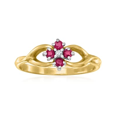 C. 1990 Vintage .20 ct. t.w. Ruby Ring with Diamond Accents in 14kt Yellow Gold
