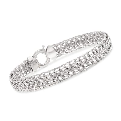 14kt White Gold Double Flat-Wheat Link Bracelet
