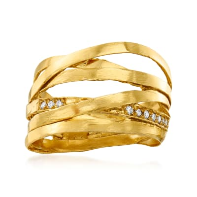 Diamond-Accented Highway Ring in 18kt Gold Over Sterling