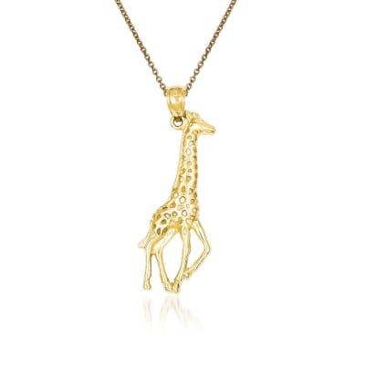 14kt Yellow Gold Giraffe Pendant Necklace