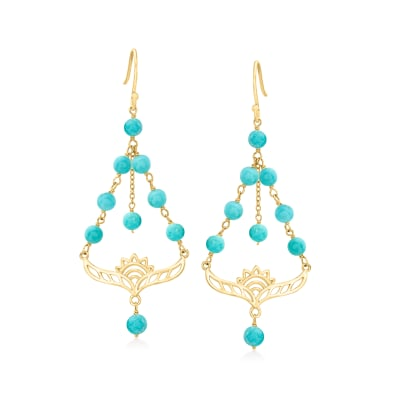 4-4.5mm Turquoise Lotus Chandelier Earrings in 18kt Gold Over Sterling