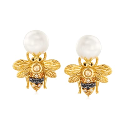 8-8.5mm Cultured Pearl and .20 ct. t.w. Citrine Bee Drop Earrings with Black Spinel Accents in Two-Tone Sterling Silver