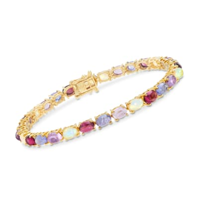 13.95 ct. t.w. Multi-Stone Tennis Bracelet in 18kt Yellow Gold Over Sterling Silver
