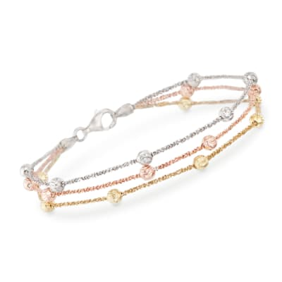 Tri-Colored Sterling Silver Three-Strand Bead Bracelet