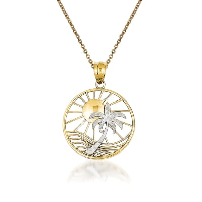 14kt Two-Tone Gold Palm Tree Pendant Necklace