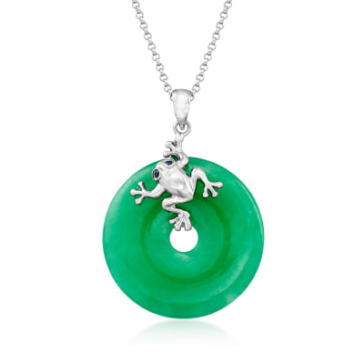 Jade Frog Pendant Necklace with Sapphire Accents in Sterling Silver