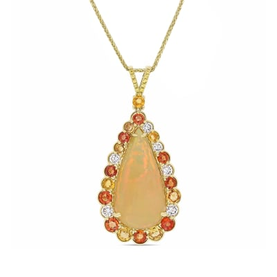 Opal and 3.88 ct. t.w. Multicolored Sapphire Pendant Necklace with .90 ct. t.w. Diamonds in 14kt Yellow Gold