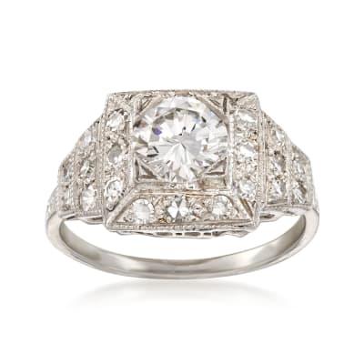 C. 2000 Vintage 1.54 ct. t.w. Certified Diamond Ring in Platinum