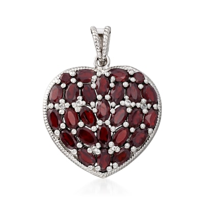 7.60 ct. t.w. Garnet and .11 ct. t.w. White Topaz Heart Pendant in Sterling Silver