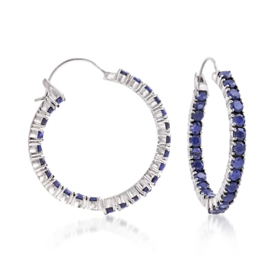 6.00 ct. t.w. Sapphire Inside-Outside Hoop Earrings in Sterling Silver