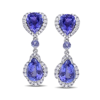 11.79 ct. t.w. Tanzanite and .98 ct. t.w. Diamond Drop Earrings in 14kt White Gold