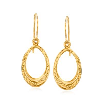 14kt Yellow Gold Open-Oval Drop Earrings