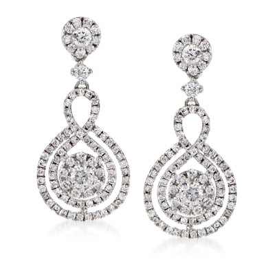 1.25 ct. t.w. Diamond Cluster Drop Earrings in 14kt White Gold