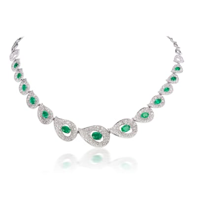 5.70 ct. t.w. Diamond and 5.60 ct. t.w. Emerald Necklace in 18kt White Gold