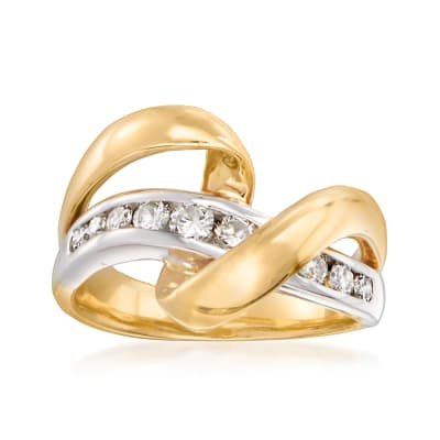 C. 1990 Vintage .50 ct. t.w. Diamond Twist Ring in 18kt Two-Tone Gold