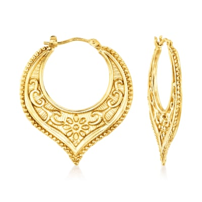 Italian 18kt Gold Over Sterling Floral Chevron Hoop Earrings