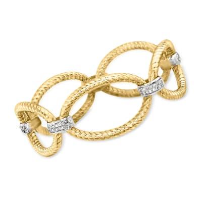 C. 1980 Vintage 1.00 ct. t.w. Diamond Oval-Link Bracelet in 14kt Two-Tone Gold