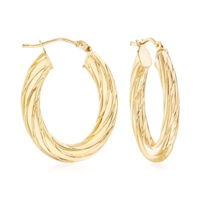 Italian Fluted 14kt Yellow Gold Oval Hoop Earrings