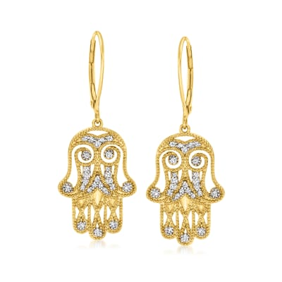 .25 ct. t.w. Diamond Hamsa Hand Drop Earrings in 18kt Gold Over Sterling