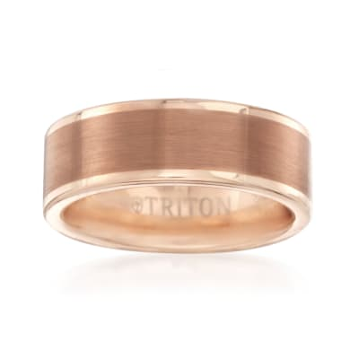 Men's 8mm Rose Tungsten Carbide Brushed Wedding Ring