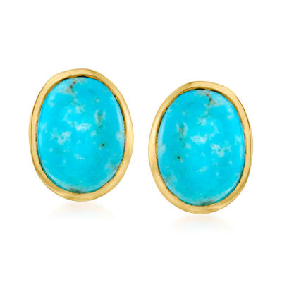 Turquoise Earrings in 18kt Gold Over Sterling