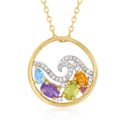 1.23 ct. t.w. Multi-Gemstone and 1.00 ct. t.w. Diamond Wave Necklace in 18kt Gold Over Sterling