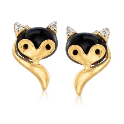 Onyx Fox Earrings in 18kt Gold Over Sterling
