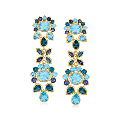 24.30 ct. t.w. Tonal Blue Topaz and 2.30 ct. t.w. Iolite Drop Earrings in 18kt Gold Over Sterling