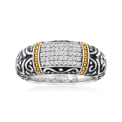 .22 ct. t.w. Diamond Bali-Style Ring with Black Enamel in Two-Tone Sterling Silver