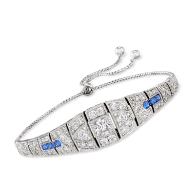 3.35 ct. t.w. CZ and .20 ct. t.w. Simulated Sapphire Bolo Bracelet in Sterling Silver