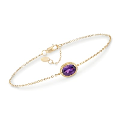 1.10 Carat Amethyst Bracelet in 14kt Yellow Gold