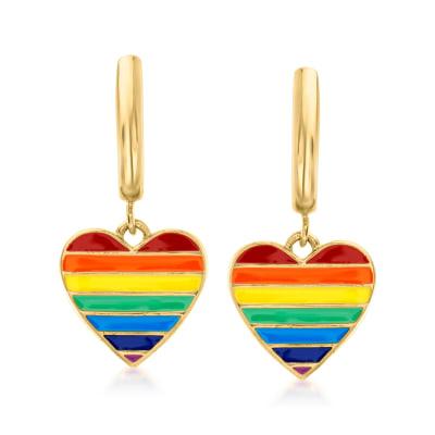 Italian Rainbow Enamel Heart Huggie Hoop Drop Earrings in 18kt Gold Over Sterling