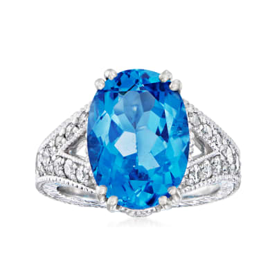 C. 2000 Vintage 7.50 Carat Swiss Blue Topaz Ring with 1.00 ct. t.w. Diamonds in Platinum