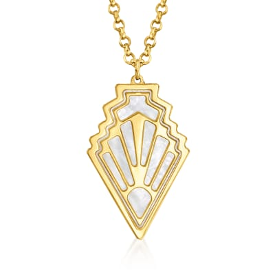 Italian Mother-Of-Pearl Art Deco-Style Pendant Necklace in 14kt Yellow Gold