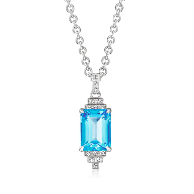 "Andrea Candela ""Gatsby"" 8.50 Carat Swiss Blue Topaz Necklace with .12 ct. t.w. Diamonds in Sterling Silver"