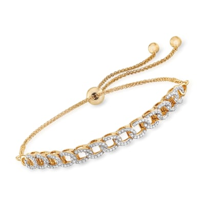 .50 ct. t.w. Diamond Chain-Link Bolo Bracelet in 18kt Gold Over Sterling