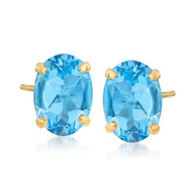 1.70 ct. t.w. Swiss Blue Topaz Oval Stud Earrings in 14kt Yellow Gold