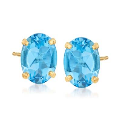1.70 ct. t.w. Swiss Blue Topaz Oval Stud Earrings in 14kt Yellow Gold