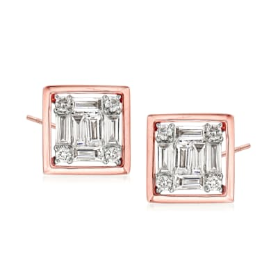 .35 ct. t.w. Round and Baguette Diamond Square Earrings in 18kt Rose Gold