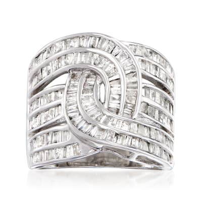 2.00 ct. t.w. Baguette Diamond Interlocking Ring in Sterling Silver