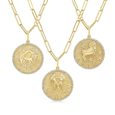 Diamond Zodiac Pendant Necklace in 14kt Yellow Gold