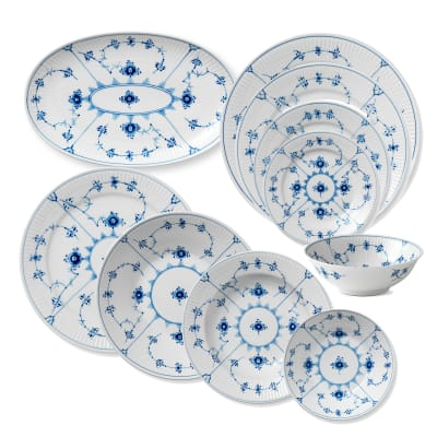 "Royal Copenhagen ""Blue Fluted Plain"" Porcelain Dinnerware"