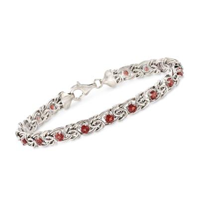 2.30 ct. t.w. Garnet Byzantine Bracelet in Sterling Silver