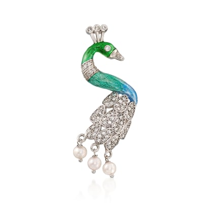 Italian 1.30 ct. t.w. CZ and 5.5-6mm Cultured Pearl with Enamel Peacock Pendant in Sterling Silver